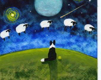 Arte popular Border Collie perro gran impresión por ToddYoungArt