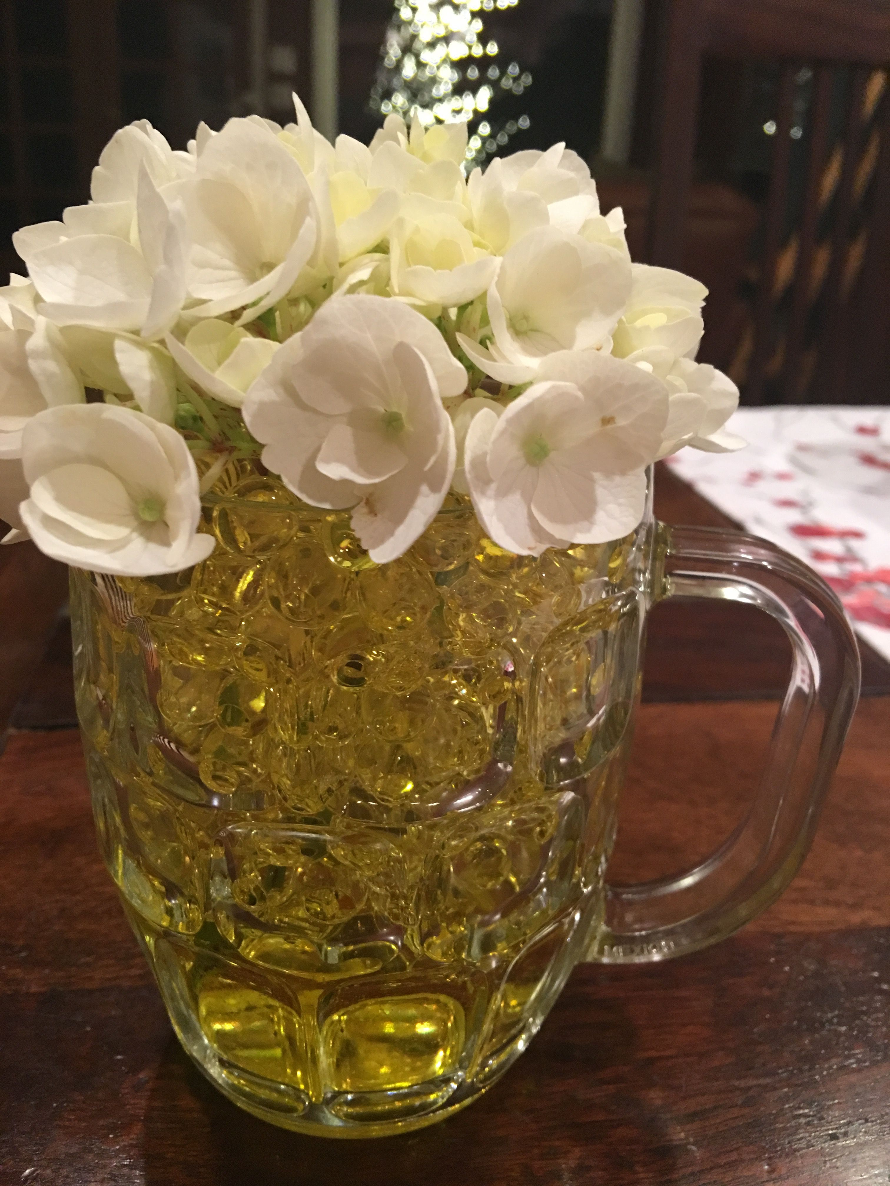 Father\'s Day Centrepiece - White Hydrangea over simple beer mug. Get ...