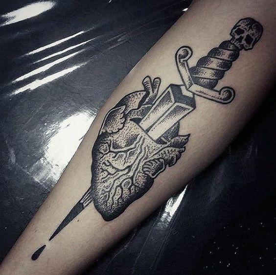 Guys Forearms Dagger Through Heart Tattoo | Tattoos ...