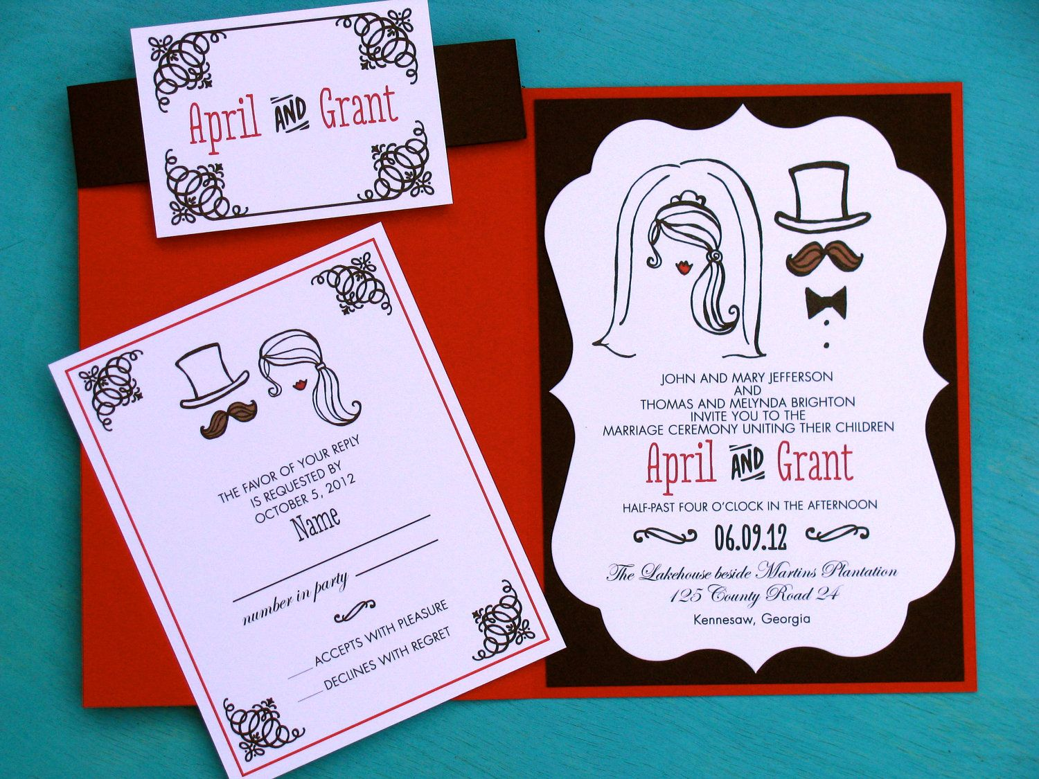 50 Wedding Invitations - moustache and lips with bride and groom ...