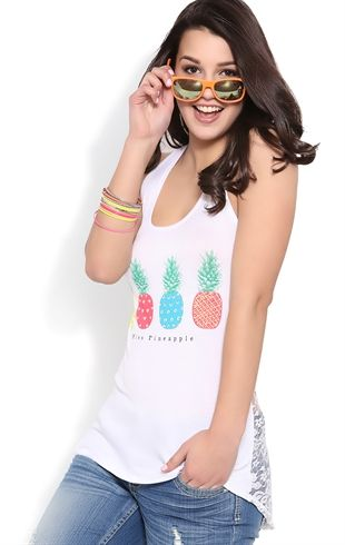 High Low Tank Top with Miss Pineapple Screen and Lace Back