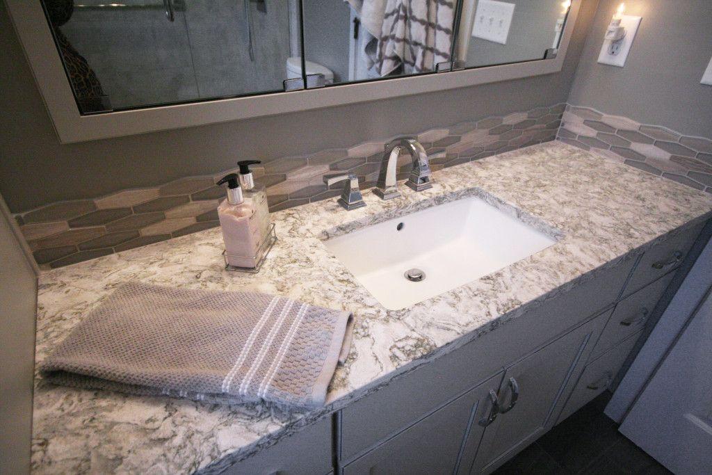 Cambria quartz berwyn bathroom countertops dreammaker bathroom remodel gray and white tile for Are quartz countertops good for bathrooms