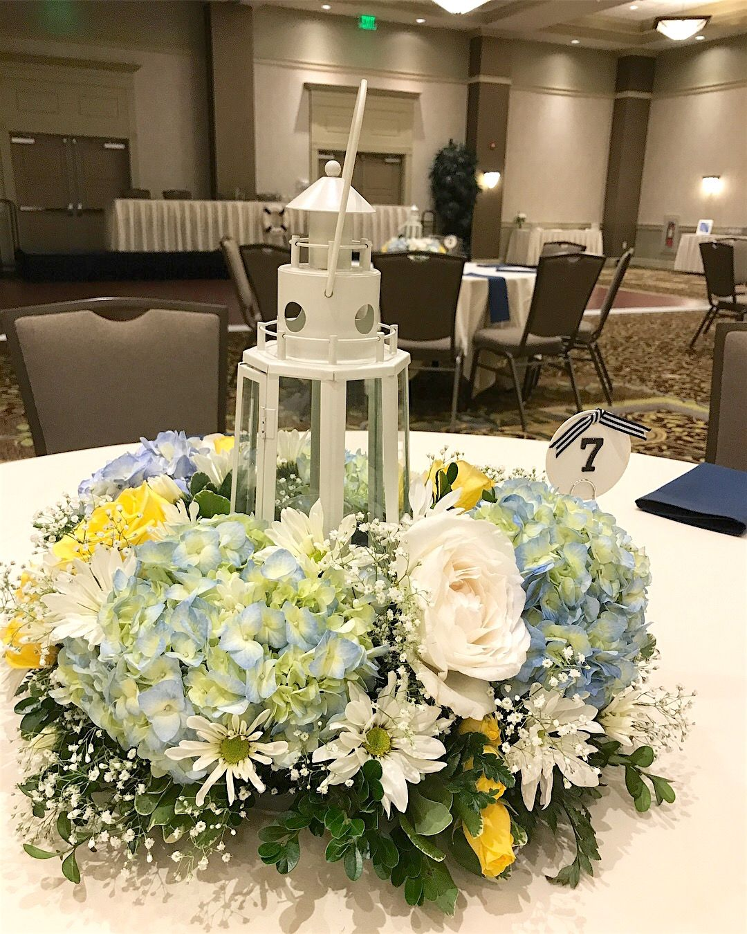 Lighthouse Centerpiece- Yellow, Blue And White Nautical