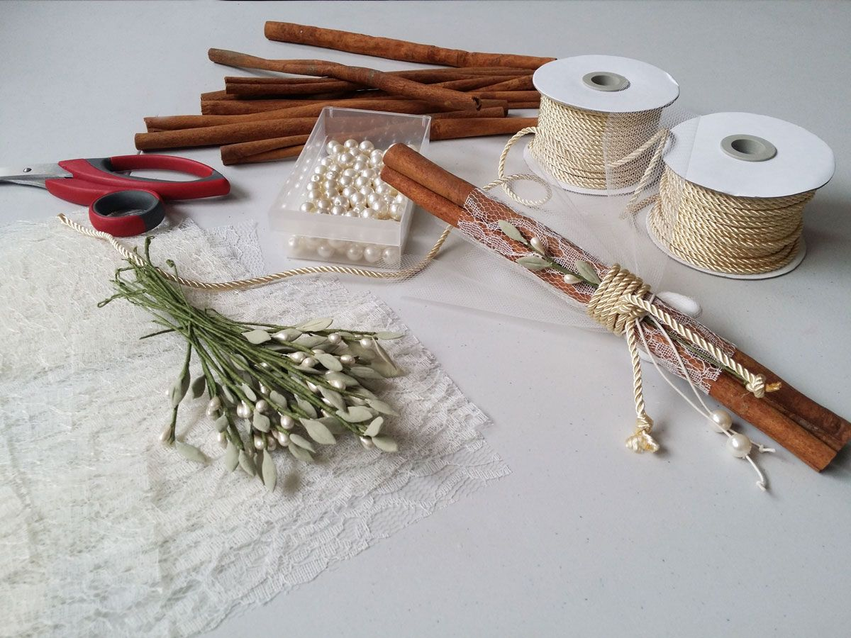 Our Cinnamon Sticks Favors With Handmade Olive Pins For George And