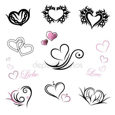 Collection Of Illustrated Heart Icons Free 2