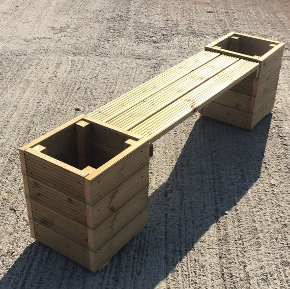 Large Square Decking Wooden Garden Planter  Bench Combination  2m Total Length Large Square Decking Wooden Garden Planter  Bench Combination  2m Total Length