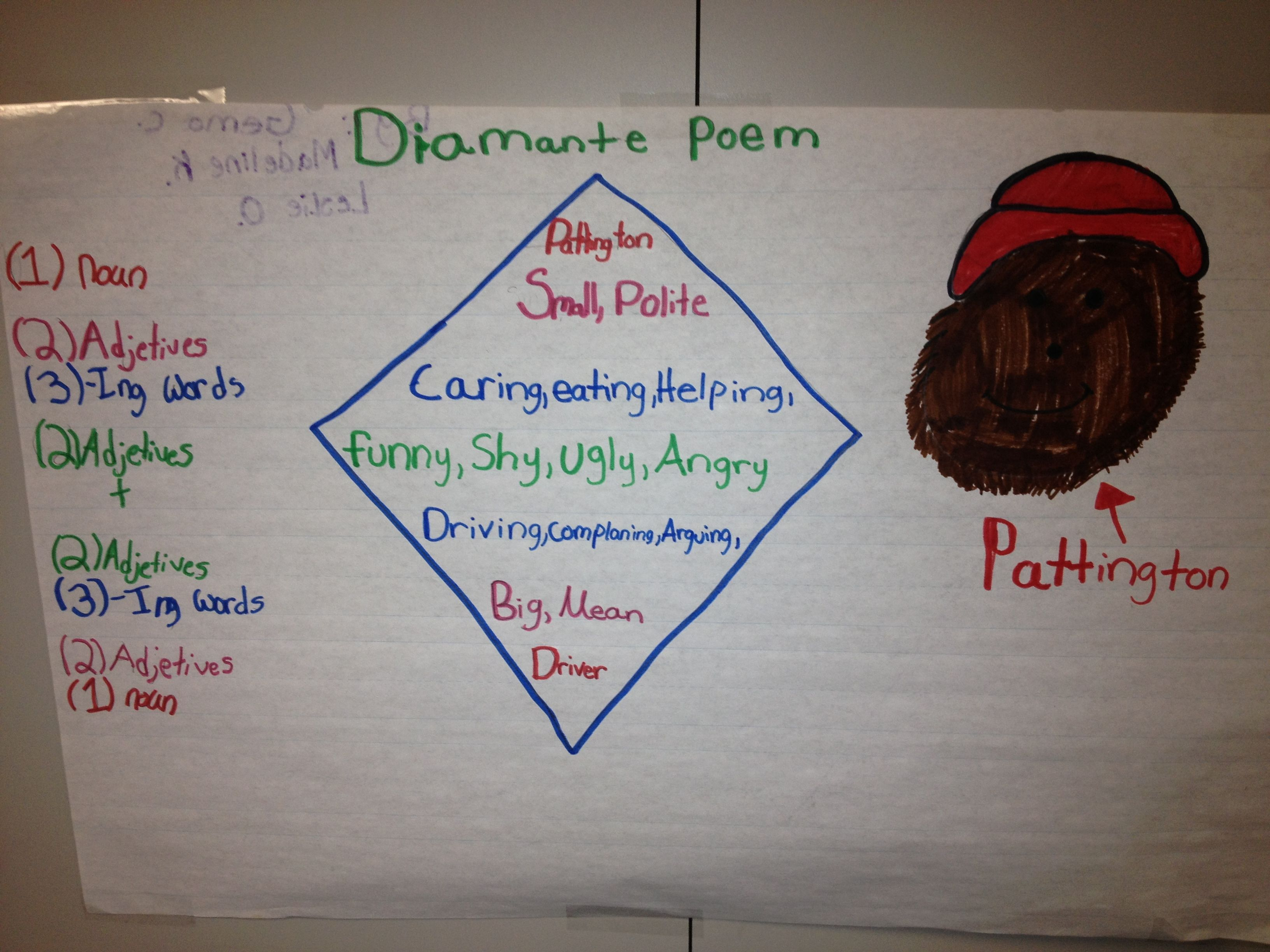 Student Sample Of A Diamante Poem Comparing Characters Of
