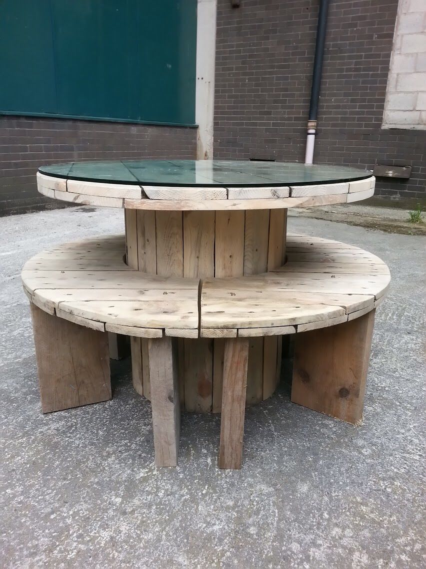upcycled cable drum table and bench set erigeos. Black Bedroom Furniture Sets. Home Design Ideas