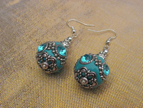 Silver aqua blue Kashmiri beaded earrings by RonellasJewelryHeart, €6.00