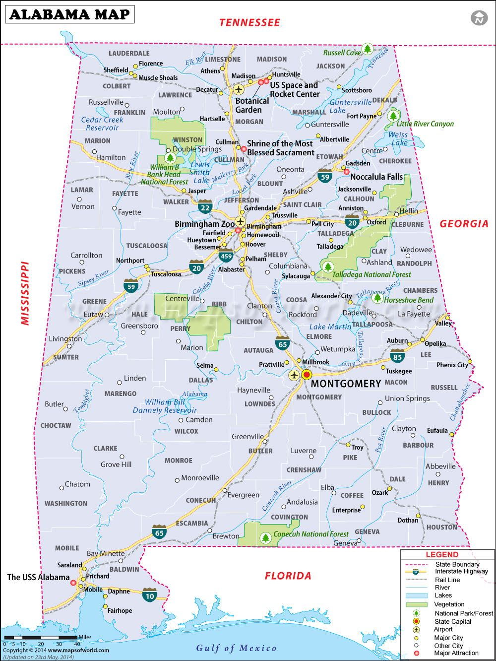 Alabama Cities Map Alabama Map for free download. Printable map of Alabama, known as
