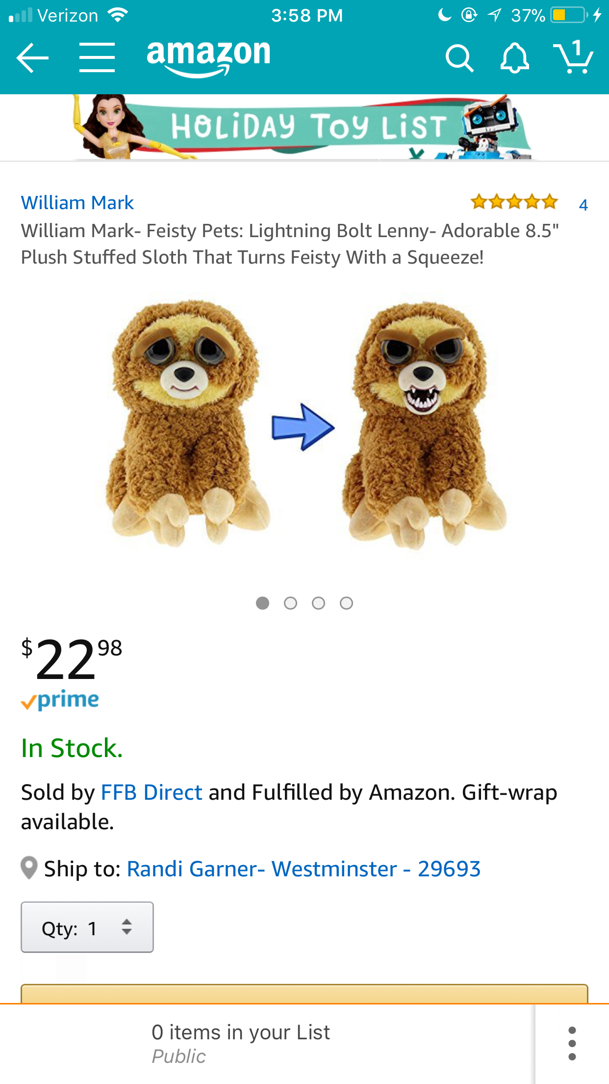 Sloth Feisty Pet My Spirit Animal Holiday Toys Pets