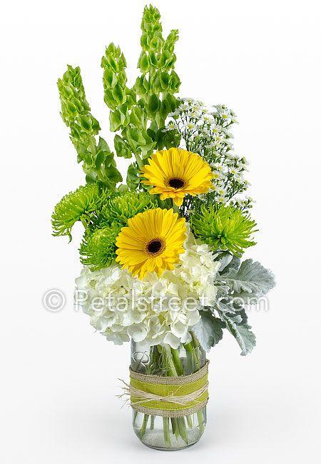 Yellow gerbera daisy mason jar flower arrangement petal for How to arrange flowers in mason jar