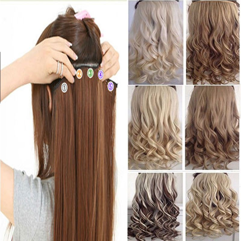 Real Thick Hair Piece 34 Full Head Clip In Hair Extensions Long