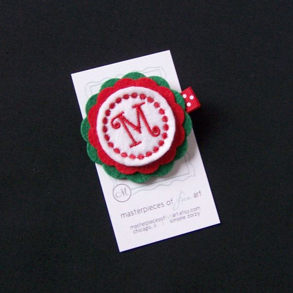 Red Green and White Initial Felt Hair Clip by MasterpiecesOfFunArt, $4.25