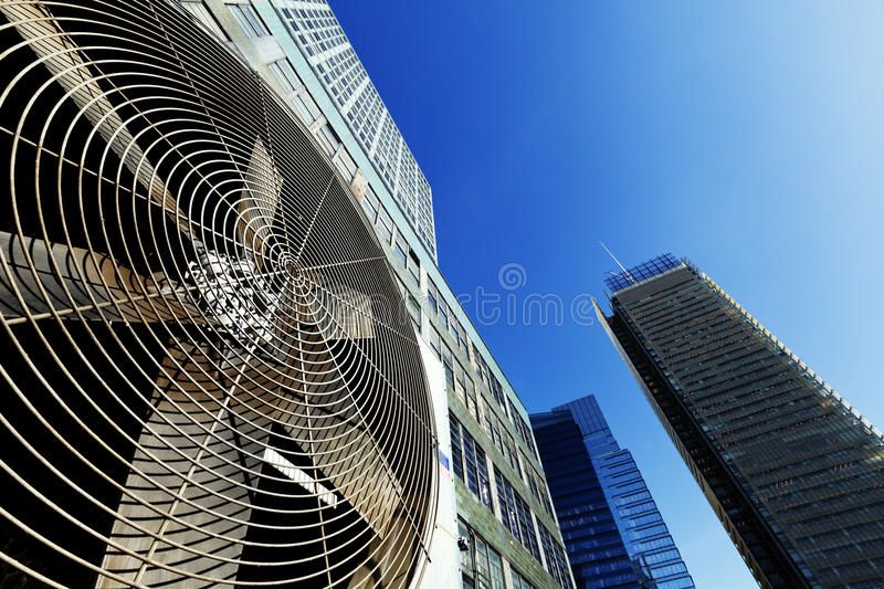 Urban HVAC Air Contidioner Outdoor Unit Manhattan NewYork Wide angle view at a