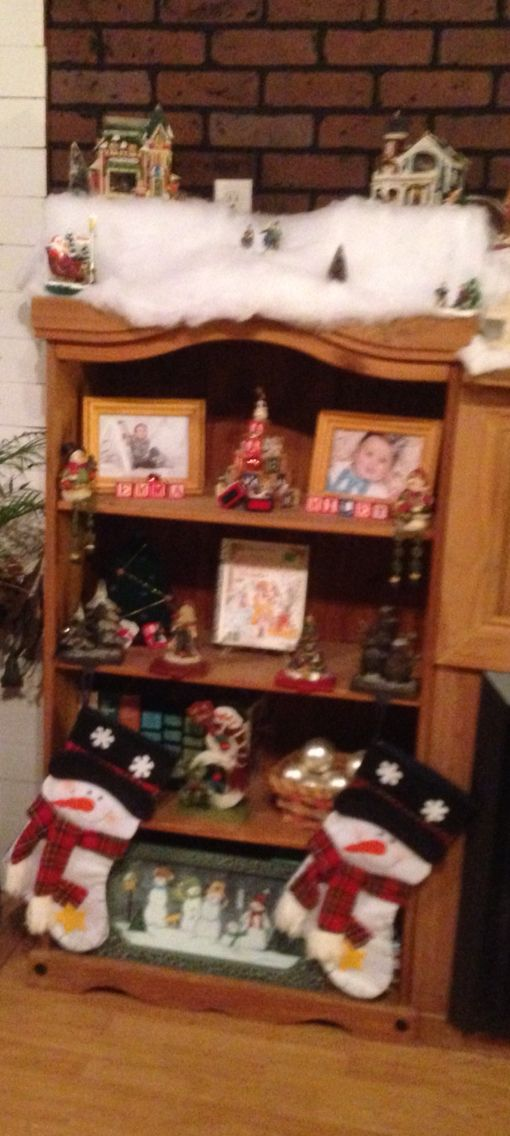 Bookshelf displayes  some of my Christmas collectables