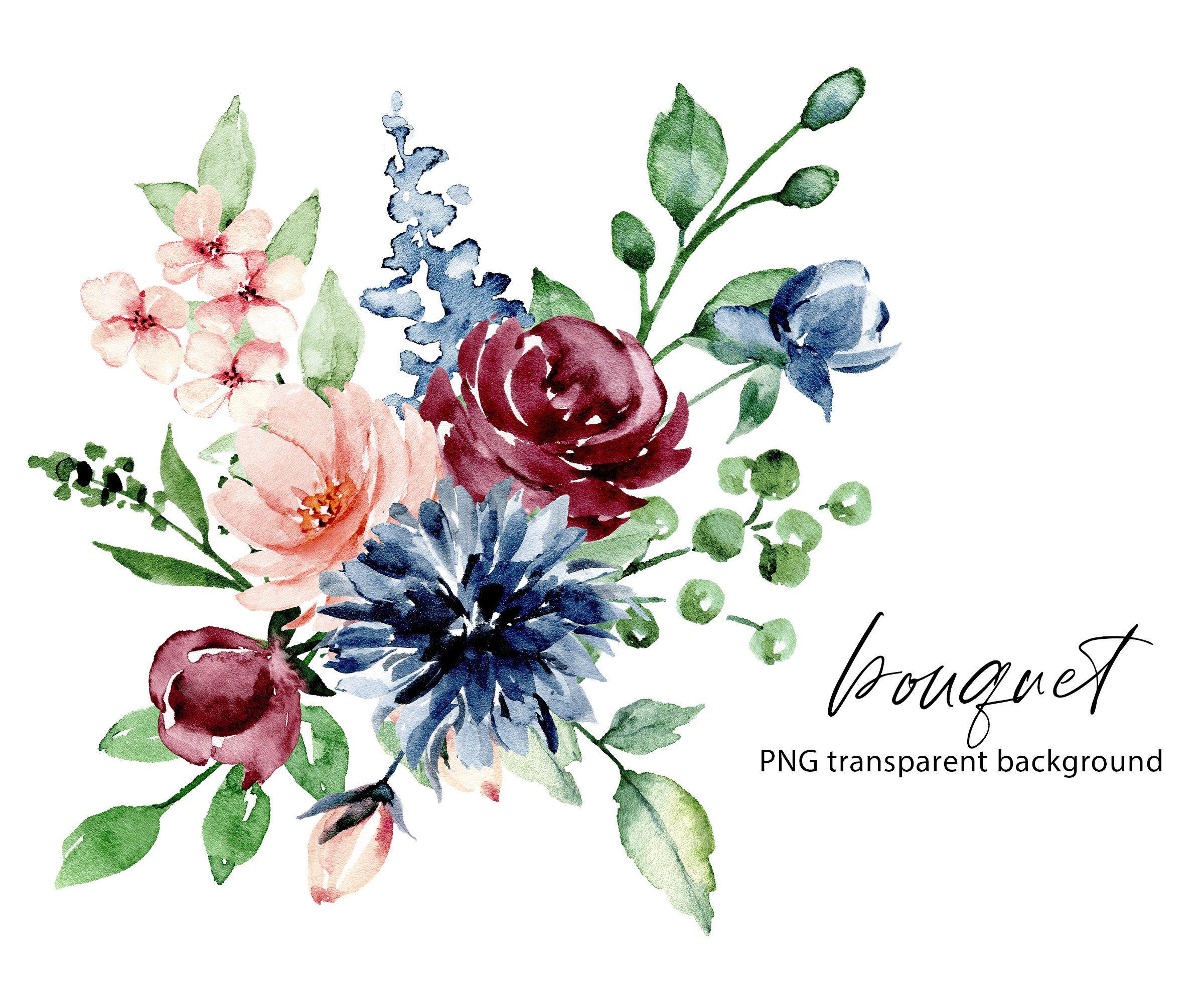 Watercolor Flowers Clipart Bouquet Of Png File With Etsy In 2021 Watercolor Flowers Watercolor Bouquet Clip Art