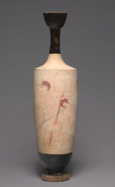 White Ground Lekythos Oil Vessel Youths At Tomb Ancient Greek Pottery Ancient Greek Art Greek Pottery