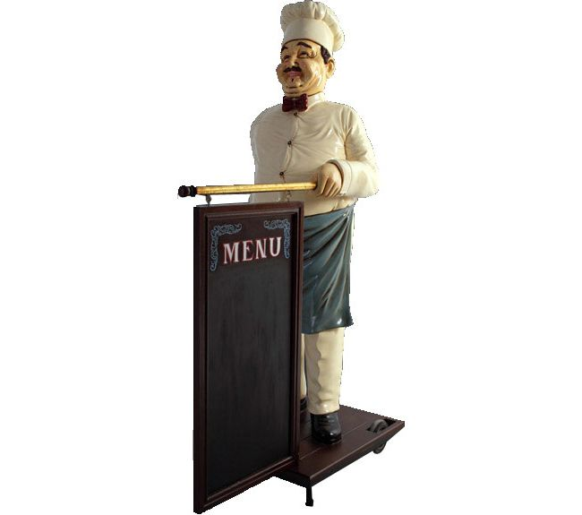 Life Size Cook Statue With Menu Board This Is My Kitchen