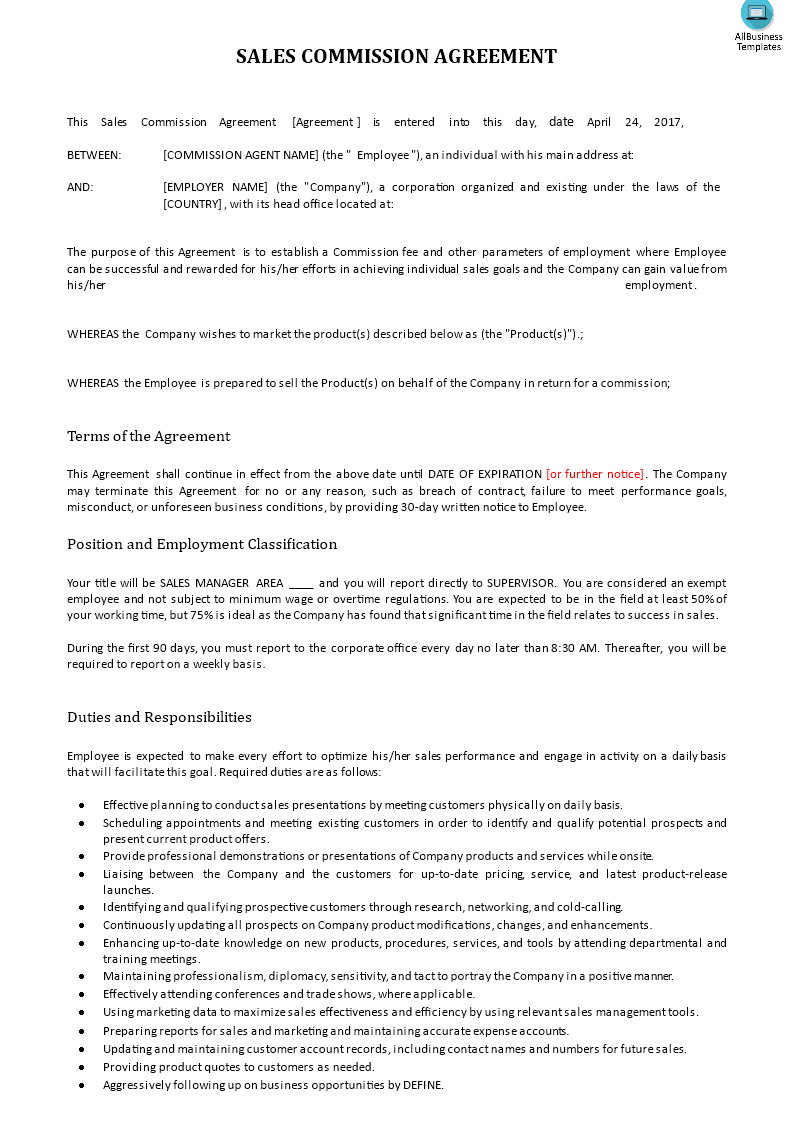 Sales Commission Agreement Download This Sales Commission