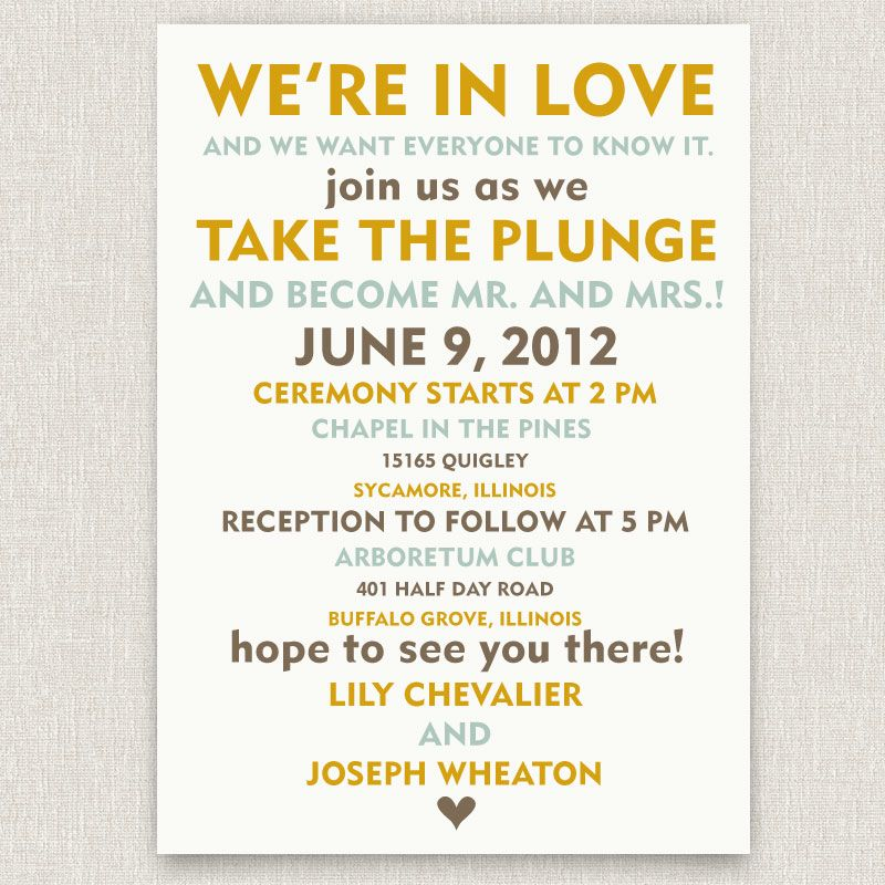 Text Informal Wedding Invitations