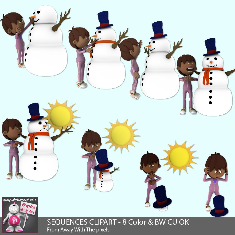 Sequencing Melting Snowman Clip Art 8 Color 6 Blackline Clipart Images Teacherspayteachers Tpt Clipart Teacher Clip Art Animal Clipart Clipart Images