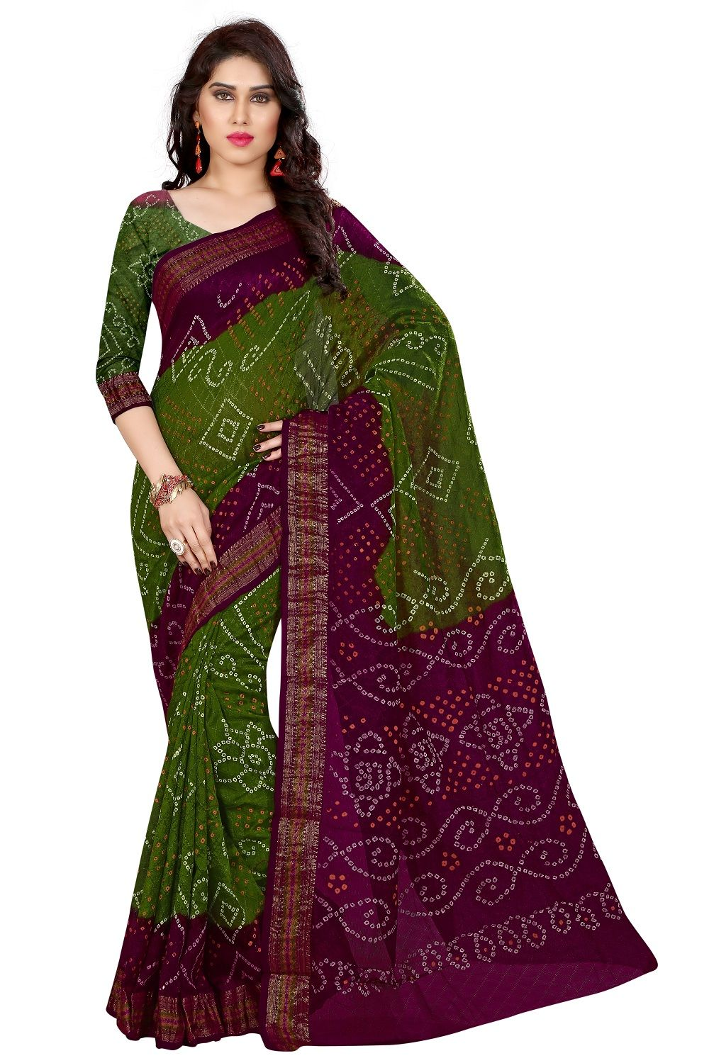 d7f17c0bc5 Blue and #Olive Green Rajasthani Printed Cotton Silk #Bandhani Saree ...
