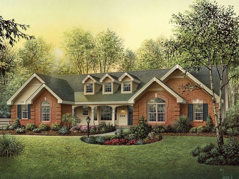 all bedrooms would have to be bigger but like the flow country house plan with 1929 square feet and 4 bedrooms from dream home source - French Country Ranch House Plans