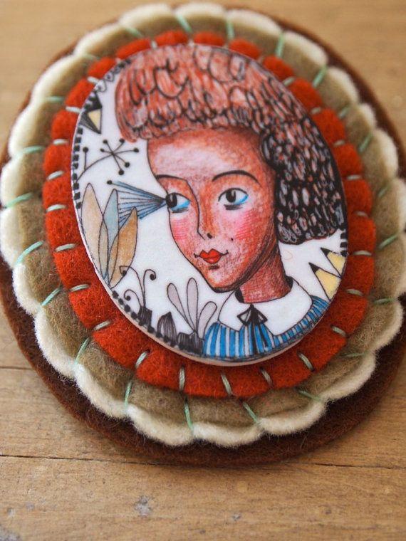 Shrink art felt brooch cameo ink Drawing Mea by JessQuinnSmallArt