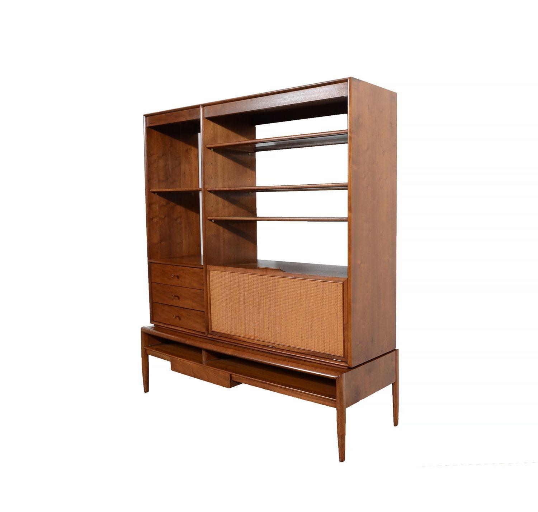 walnut bookcase drexel parallel by barney flag room divider desk