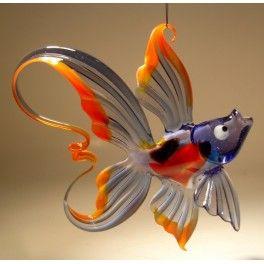 Blue Red Hanging Glass Fish Ornament Glasslilies Com Glass Fish Glass Animals Glass Figurines