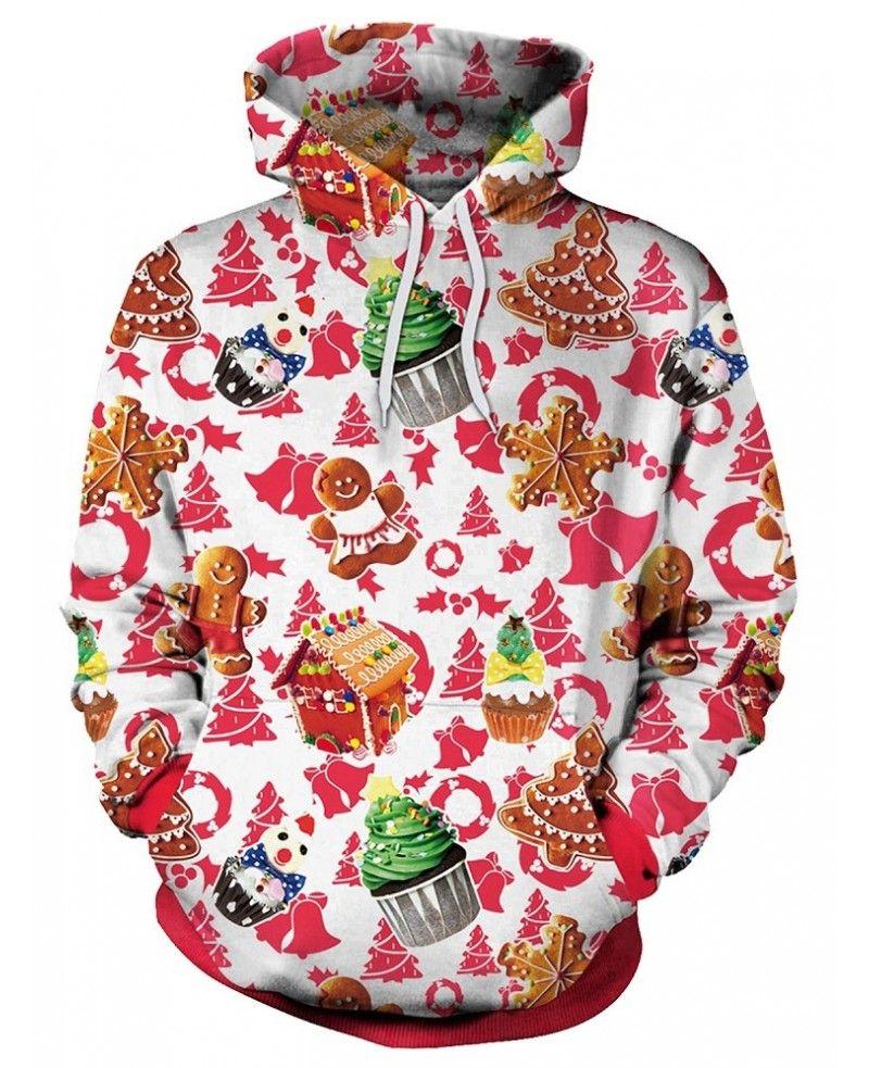 Christmas Theme Cake Print Pullover Hoodie Multi