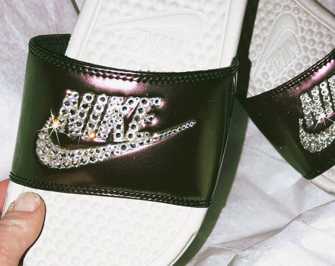 Womens Nike Benassi Slides with Swarovski crystals-bling slides-Swarovski  Nike-Bling slides-custom soccer slide-perfect gift for her ee572b316f
