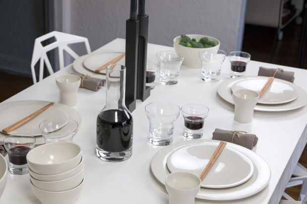 White modern table setting featuring the designs of John Pawson dinnerware flatware and glassware for & White modern table setting featuring the designs of John Pawson ...