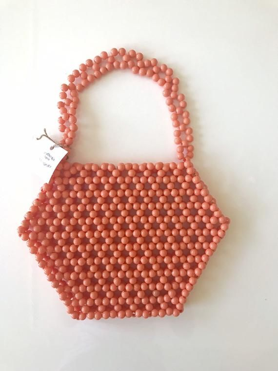 Photo of Beaded Bag orange , vintage beaded bag, custom beaded bag, Vintage 1960's Bead Purse, Orange Hand Bag