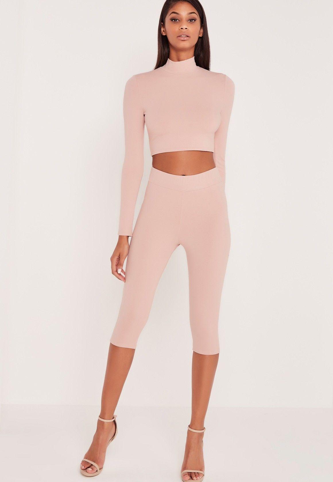 93f1a198f8d24c Missguided - Carli Bybel Cropped Leggings Pink | Wishlist | Pink ...