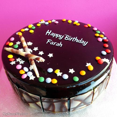 The Name Farah Is Generated On Chocolate Bunties Birthday Cake