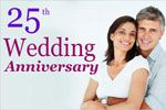 25th year wedding anniversary banner printing service. personalize your anniversary banner printing.