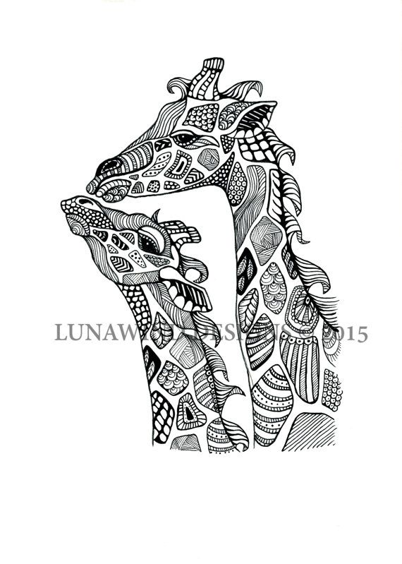 Hand Drawn Pen and Ink Zentangle Giraffe Signed Print