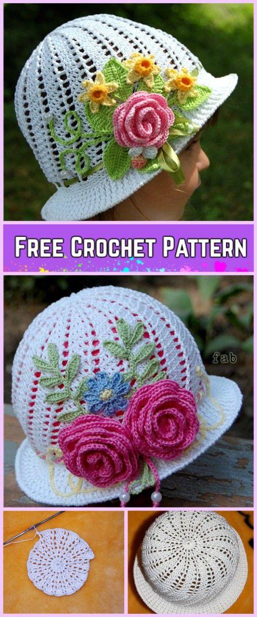 Crochet Girls Panama Spiral Sun Hat Free Pattern with Video Tutorial ...