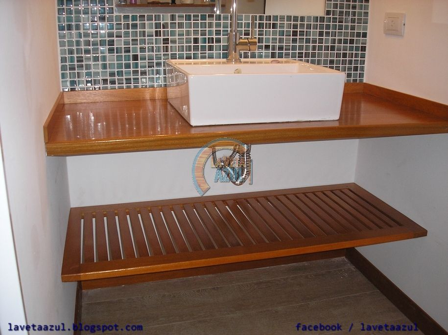 Mesada de madera en ba o buscar con google ba os pinterest - Muebles bano originales ...