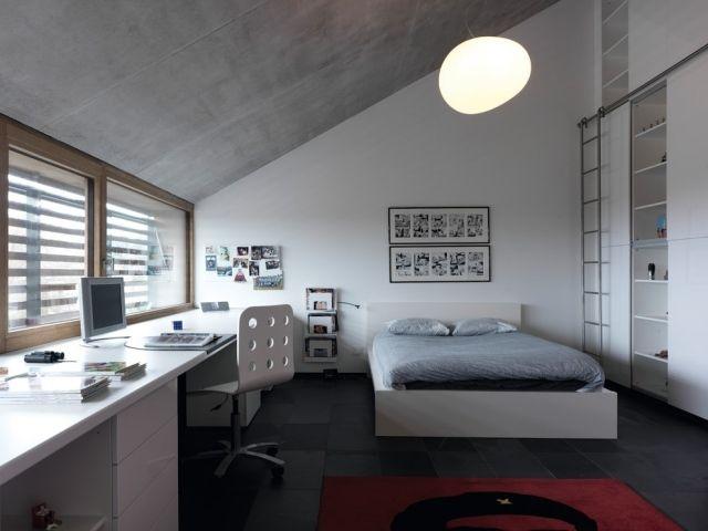 modernes schlafzimmer jugendliche junge dachschräge weiß grau - modernes schlafzimmer grau