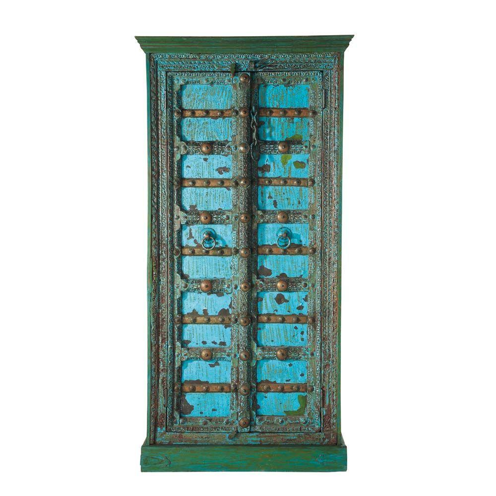 Indischer Schrank aus massivem Mangoholz, B 90 cm, blau antik Madras ...
