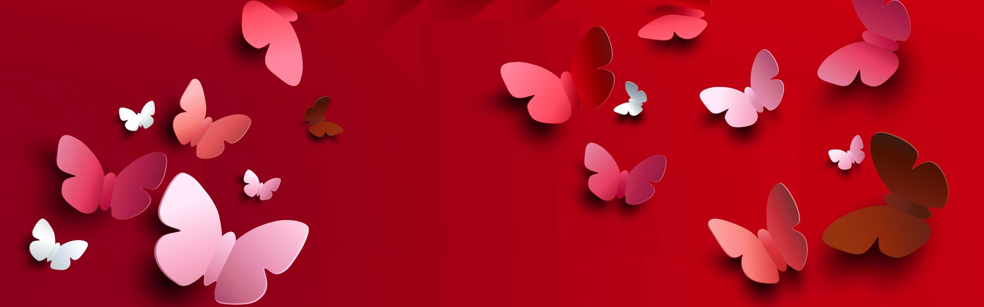 ثلاثي الأبعاد فراشة خلفية حمراء Red Background Three Dimensional Butterfly