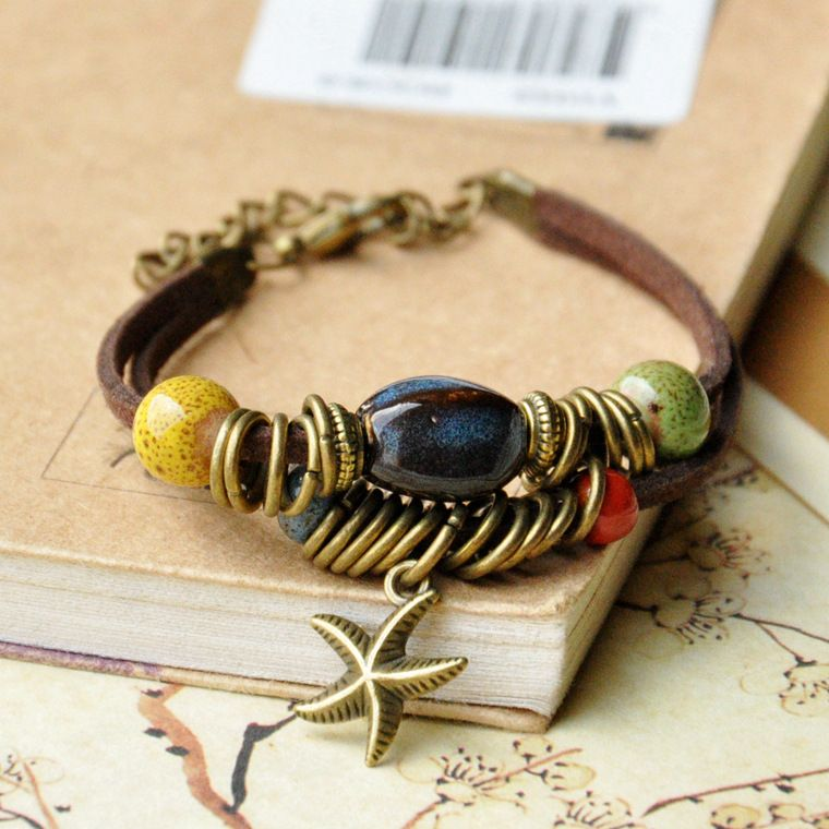 Adjustable leather bracelet with ceramic and brass beads