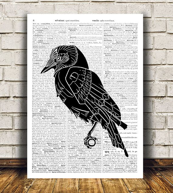 Amazing Raven decor. Gorgeous Bird poster for your home and office. Adorable Animal print. Pretty contemporary Dictionary print.  SIZES: A4 (8.3 x