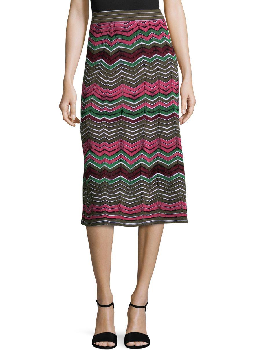 M Missoni Striped Intarsia Midi Skirt