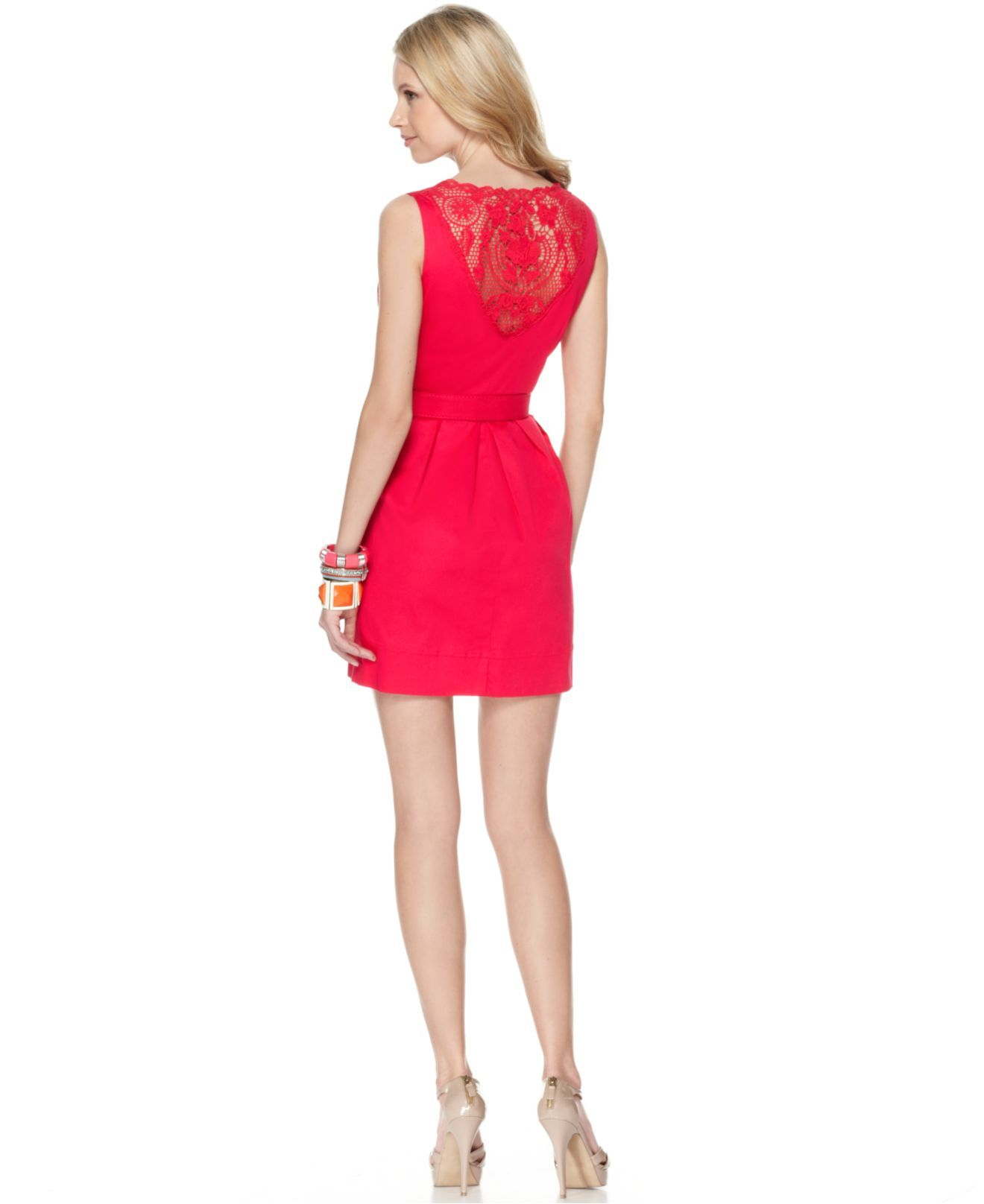 Spense Petite Dress, Sleeveless Belted Lace Crochet Back - Womens Petite Dresses - Macy's
