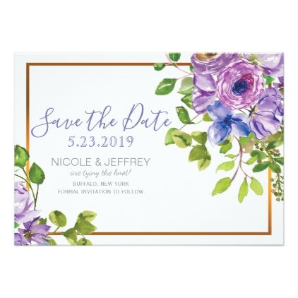 Spring Purple Flowers Country Wedding Save Date Card floral style