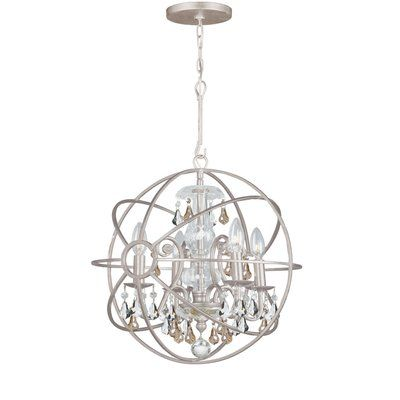 House of Hampton Hester 4 Light Crystal Chandelier Crystal Color: Golden Shade Hand Cut, Finish: Olde Silver